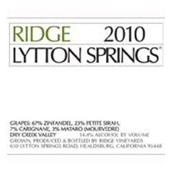 Ridge Vineyards Lytton Springs Zinfandel 2010 image