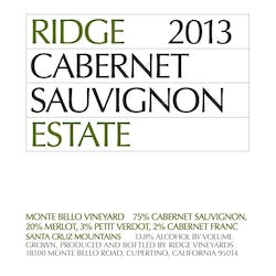 Ridge Vineyards 'Estate' Cabernet Sauvignon 2013 image