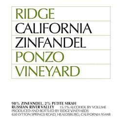 Ridge Vineyards Ponzo Vnyd Zinfandel 2015 image