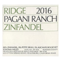 Ridge Vineyards Pagani Ranch Zinfandel 2016 image
