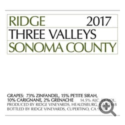 Ridge Vineyards Three Valleys Zinfandel 2016