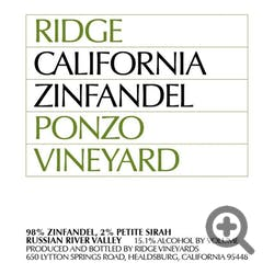 Ridge Vineyards Ponzo Vnyd Zinfandel 2016