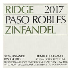 Ridge Vineyards 'Paso Robles' Zinfandel 2017 image