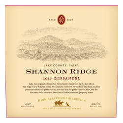Shannon Ridge 'High Elevation' Zinfandel 2017 image