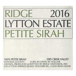 Ridge 'Lytton Estate' Petite Sirah 2017 image