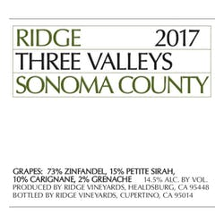 Ridge Vineyards Three Valleys Zinfandel 2017 image