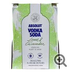 Absolut Vodka Soda Lime & Cucumber 4-355ml Cans