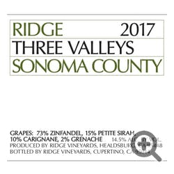 Ridge Vineyards Three Valleys Zinfandel 2018