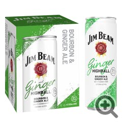 Jim Beam Bourbon and Ginger Ale 4-355ml Cans